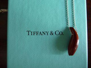 TIFFANY & CO FRANK GEHRY Sterling Silver Fish Pernambuco Wood Pendant