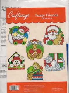 FUZZY FRIENDS ANIMAL ORNAMENTS CROSS STITCH PLASTIC CANVAS KIT