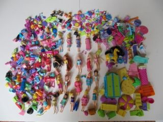 LOT 20 FASHION POLLY POCKET DOLLS, CLOTHES, SHOES FURNITURE PETS HORSE