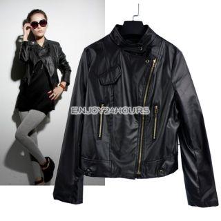 Black Womens Lapel Zipper PU Leather Short Jacket Tops Coat Outerwear