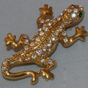 Lizard Gecko Brooch Pin 24K Gold Color with Swarovski Crystal Reptile