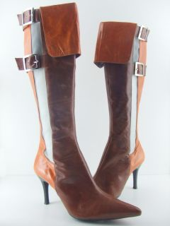 30 Off New NASCAR Brown and Orange Knee High Boots Retail $279 Size 6
