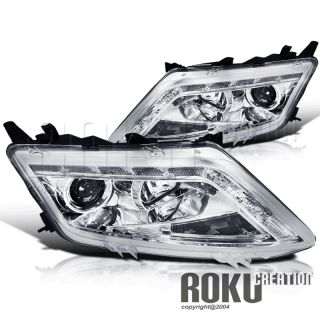 2010 2012 Fusion R8 Style LED DRL Projector Chrome Headlight Clear