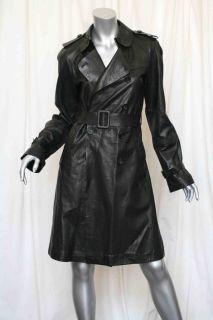 Gerard DAREL Long Soft Black Leather Belted Trench Coat Jacket US 4 Fr