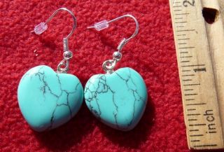 Sterling Silver Gemstone Turquoise Heart Earrings  Native American