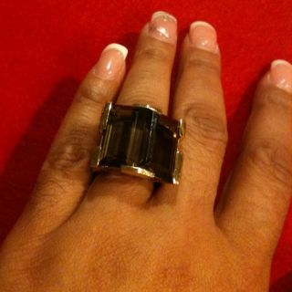 Stephen Dweck Gold Plated with Smokey Quartz Ring Size 7