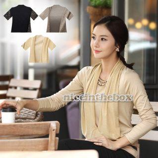 Womens Stylish Slim Long Sleeve Crew Neck Top Blouse T Shirt Primer