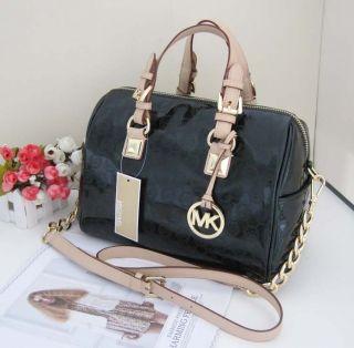 Michael Kors Medium Grayson Monogram Satchel Handbag Hunter Green MK
