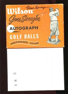 GENE SARAZEN ACTUALLY SIGNED ORIGINAL VINTAGE EMPTY WILSON GOLF BALL