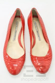 Fratelli Rossetti Red Patent Snake Effect Leather Ballet Flats Size 39