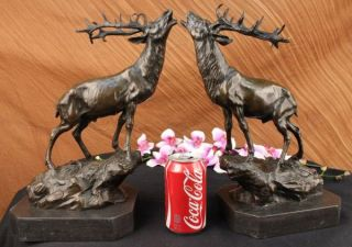Bronze Marble Statue Elk Stag Buck Deer Lodge Sculpture Wildlife Art