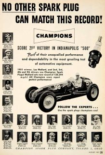 1951 Ad Champion Spark Plug Toledo Ohio Race Car Lee Wallard Johnny