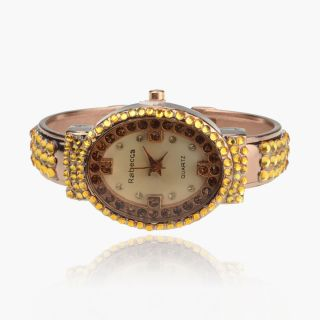 Gallant SW Crystal Gem Ladies Rose Gold Plated GP Bracelet Bangle