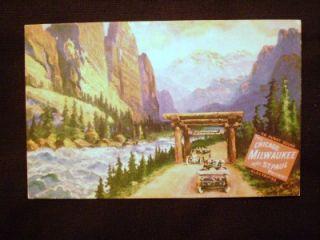 Milwaukee & St. Paul Railroad Postcard Gallatin Gateway to Yellowstone