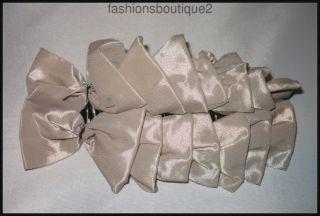 Long Plastic Banana Hair Clip Satin Bows White Pink Rose Taupe Gray