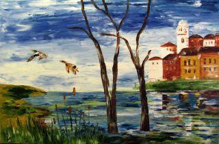 Freedom Original Oil Painting Malorcka Palette Knife Town Lake Ducks