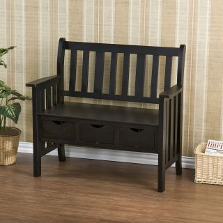Tuscan French Country Style Decor Black Wood Storage Bench Seat Foyer