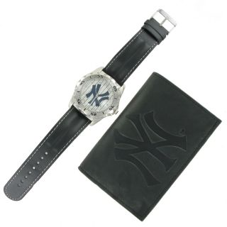 Game Time Watch Wallet Mens New York Yankees Leather Gift Set