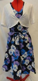 George Womens Dress Belted Dress with Shrug Blues Purple White Size 6