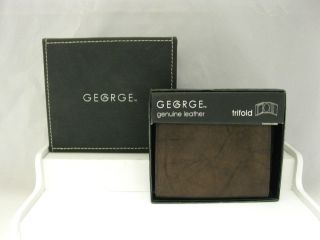 GEORGE Brown Genuine Leather Billfold Wallet Tri Fold NEW in BOX SHIPS