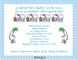 Hello Kitty Adorable Baby Shower Invitations