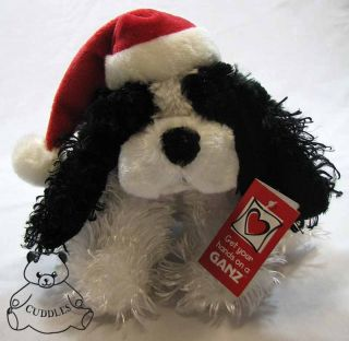 Holiday Spaniel Cocker Dog Ganz Plush Toy Stuffed Animal Black & White