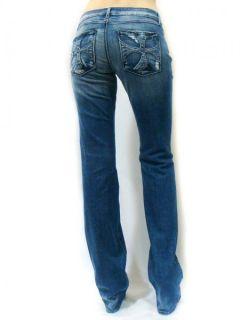 Angeles Womens Vintage Destroyed Cross Logo Pocket Jeans Geena