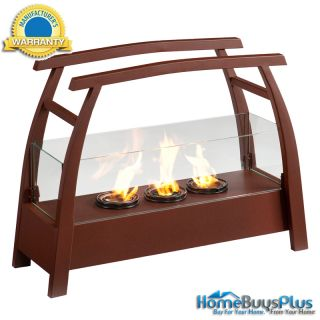 Portable Indoor Outdoor Gel Fuel Fireplace Room Heater Rust Red Finish