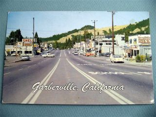 Town View Garberville California CA Vintage Postcard Old Cars Signs
