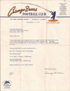GEORGE HALAS Autograph Chicago Bears Letter Football Hall of Fame