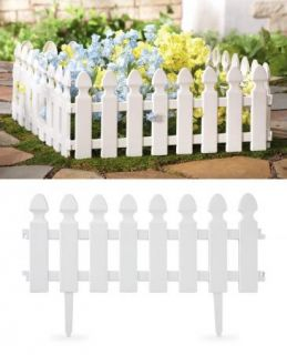 PC White Picket Fence Garden Border Plastic Edging Yard Decor New
