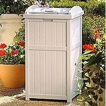 Suncast Outdoor Trash Receptacle Patio Deck Trash Can