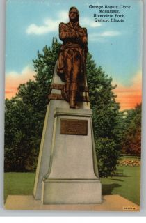 Linen Postcard George Rogers Clark Monument Riverview Park Quincy