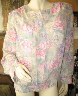 Womens Georgette Green Pink Purple Floral Flowers Long Sleeve Top