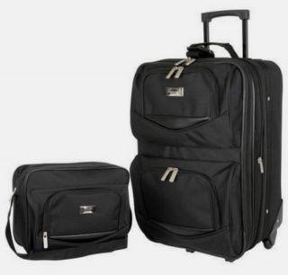 New 2 Piece Luggage Set Geoffrey Beene Black Polyester 21 Suitcase