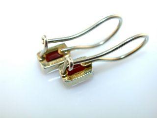 Emerald Cut Garnet Drop Sterling Silver Earrings