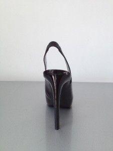 New Guess Black Georgy Patent Platform Pumps Slingback Shoes Heels