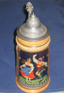 Lidded German Beer Stein Features Dancing Couple and Printed Quote