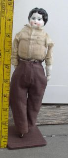 german porcelain head bisque arms legs unusual hand painted 9 1 2 doll