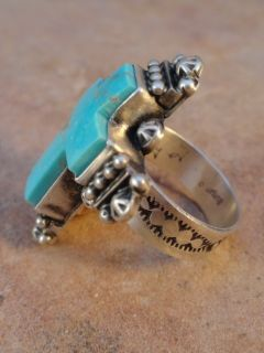 Gary Sanchez Navajo Sterling Silver Turquoise Cross Ring