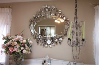 Venetian Glass Mirror Double Crown Wrought Iron Crown w Etched Birds