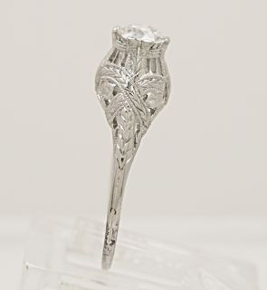 Antique Diamond 18K White Gold Edwardian Engagement Ring J33398