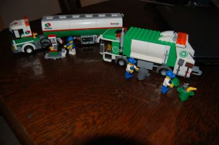 Lego City Gas/Tank Truck #3180, and Garbage Truck #4432