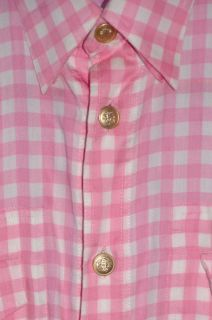 Gianni Versace Long Sleeve Pink White Dress Shirt Size 46 Euc