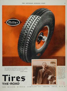 Ad Miller Balloon Tires Akron George White Original Advertising