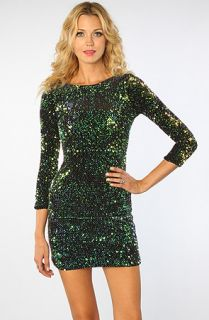 Karmaloop Motel The Gabby Glitzy Sequin Long Sleeve Dress Green