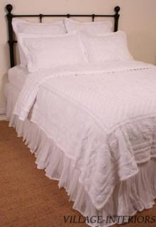 CHIC SHABBY WHITE TUFTED SOFT CHENILLE KING COVERLET BEDSPREAD 100%