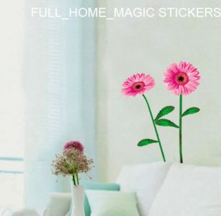 Pink Gerbera Flower Art Deco Mural Wall Sticker Free S