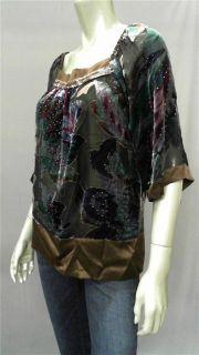 Gaby L Eden Misses s Blouse Top Brown Floral 3 4 Sleeve Shirt Designer
