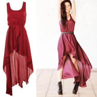 New Womens Temperament Irregular Skirt Gauze Long Maxi Dress